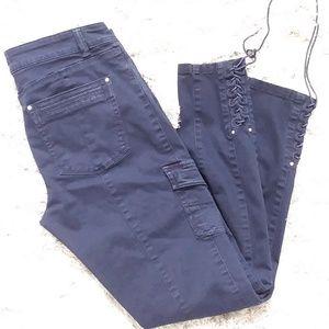 Navy Blue Cargo Lace Hem Skinny Leg Pants Size 8